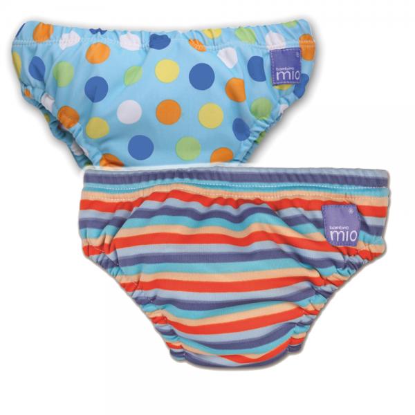 Schwimmwindel Blue Spots + Orange Stripe X-Large